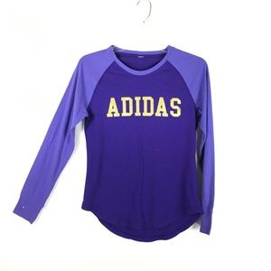 4/25 Adidas Womens Long Sleeve Tee Gold Spell Out